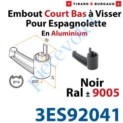 3ES92041 Embout Court Bas modèle Alliance à Visser pour Tube d'Espagnolette diamètre 14 mm Rainuré en Aluminium Laqué Noir ± Ral