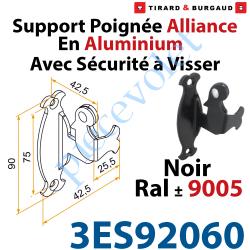 3ES92060 Support Poignée Alliance Avec Sécurité à Visser en Aluminium Laqué Noir ± Ral 9005 (Sans vis)