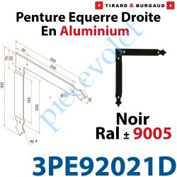 3PE92021D Penture Equerre Réglable 300x300mm Droite en Plat Aluminium de 35x4mm Percée de 4 Trous Diamètre 5mm Laqué Noir ± Ral