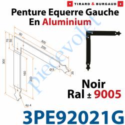 3PE92021G Penture Equerre Réglable 300x300mm Gauche en Plat Aluminium de 35x4mm Percée de 4 Trous Diamètre 5mm Laqué Noir ± Ral