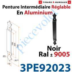 3PE92023 Penture Intermédiaire Réglable Longueur: 300mm en Plat Aluminium de 34x4mm Percée de 2 Trous Diamètre 5mm Laqué Noir ±