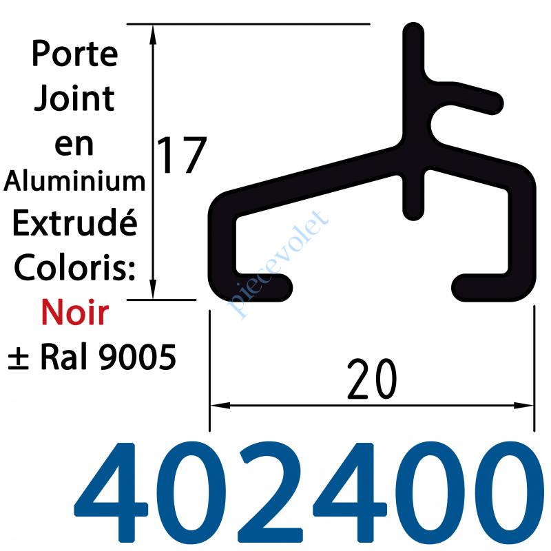 402400 Lame Finale Aluminium Porte Joint 17 x 20 mm Coloris ± Ral 9005 Noir