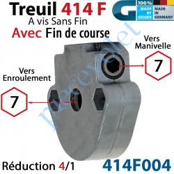 414F004 Treuil à Vis sans Fin 414F Manœuvre Hexa 7 Femelle Sortie Hexa 7 Femelle Avec FdC