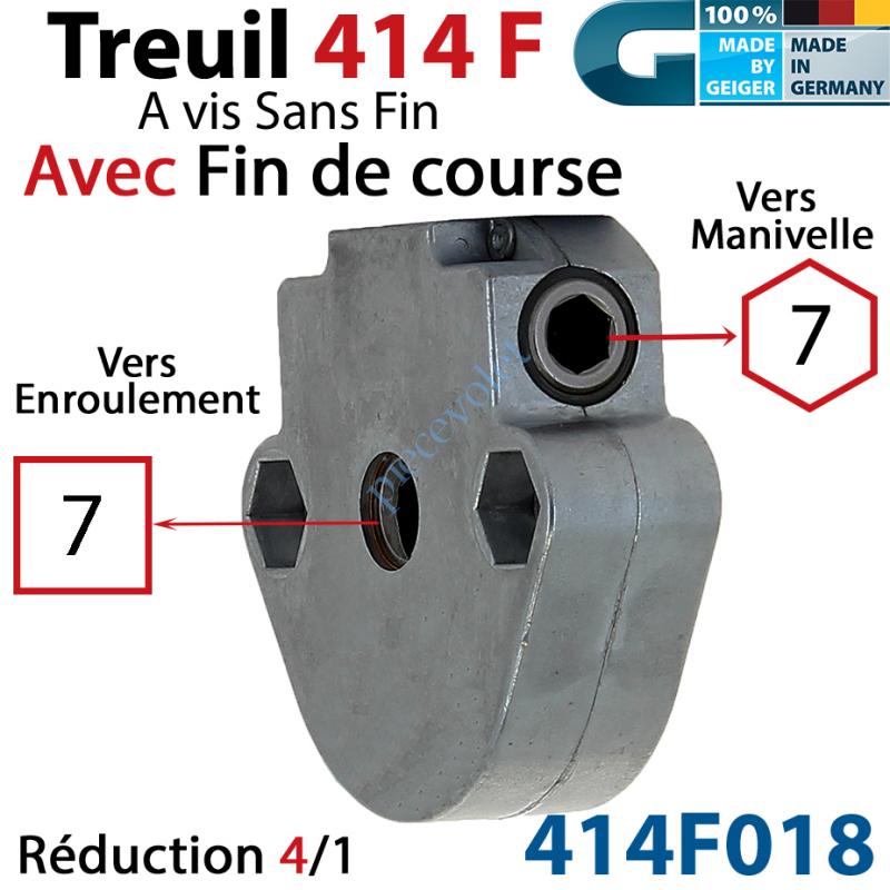 414F018 Treuil à Vis sans Fin 414F Manœuvre Hexa 7 Femelle Sortie Carré 7 Femelle Avec FdC