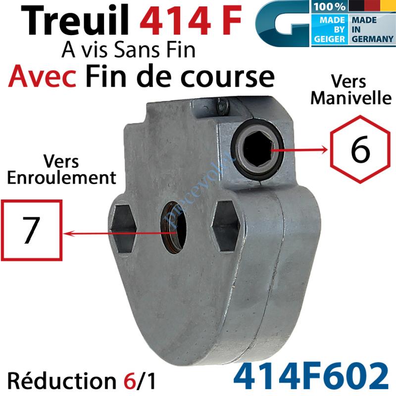 414F602 Treuil à Vis sans Fin 414F Manœuvre Hexa 6 Femelle Sortie Carré 7 Femelle Avec FdC