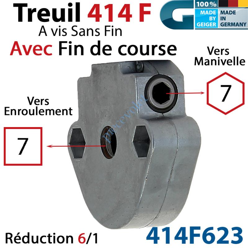 414F623 Treuil à Vis sans Fin 414F Manœuvre Hexa 7 Femelle Sortie Carré 7 Femelle