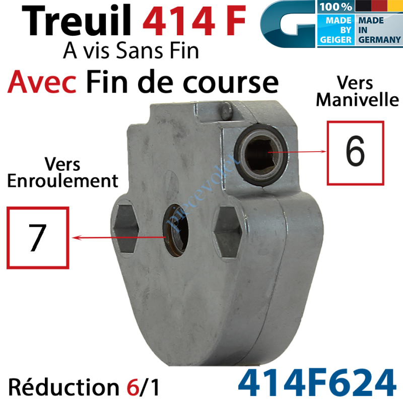 414F624 Treuil à Vis sans Fin 414F Manœuvre Carré 6 Femelle Sortie Carré 7 Femelle Avec FdC