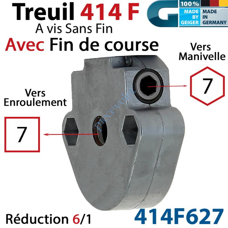 414F627 Treuil à Vis sans Fin 414F Manœuvre Hexa 7 Femelle Sortie Carré 7 Femelle Avec FdC