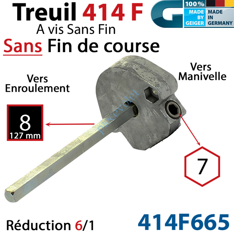 414F665 Treuil à Vis sans Fin 414F Manœuvre Hexa 7 Femelle Sortie Carré 8 Mâle