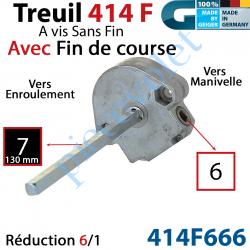 414F666 Treuil à Vis sans Fin 414F Manœuvre Carré 6 Femelle Sortie Carré 7 Mâle avec FdC