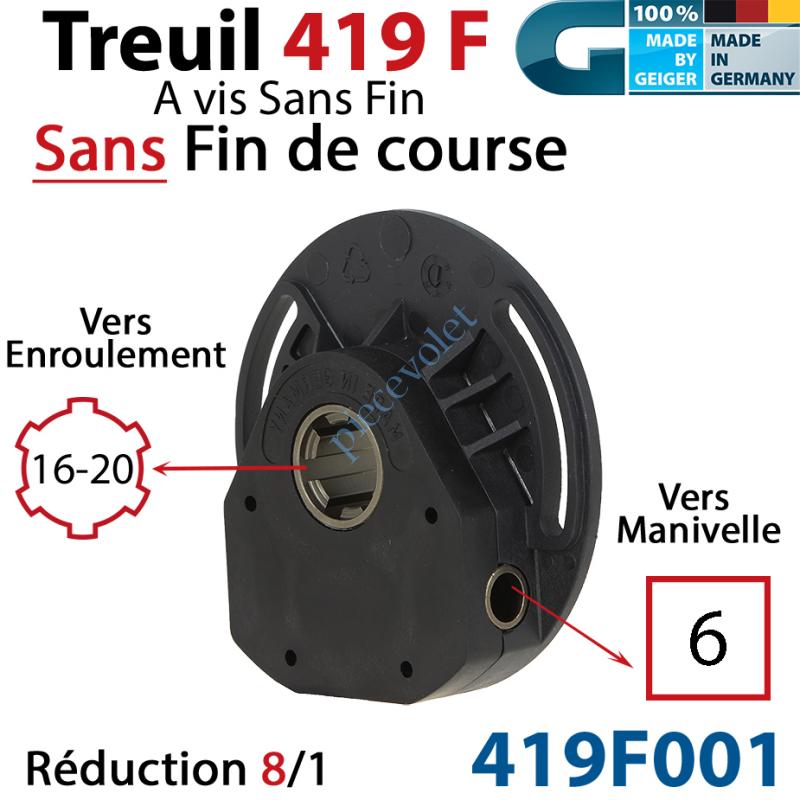 419F001 Treuil à Vis Sans Fin 419F Entrée Carré 6 Femelle Sortie Crabot Geiger Femelle Sans FdC