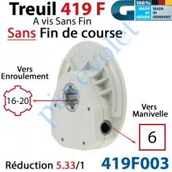 419F003 Treuil à Vis Sans Fin 419F Entrée Carré 6 Femelle Sortie Crabot Geiger Femelle Sans FdC