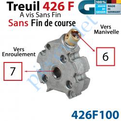 426F100 Treuil Vis sans Fin ø48 Man Car 6 Fem Srt Car 7 Fem Révers Ss FdC Dém 2,6/1 Cpl 1,5 Nm