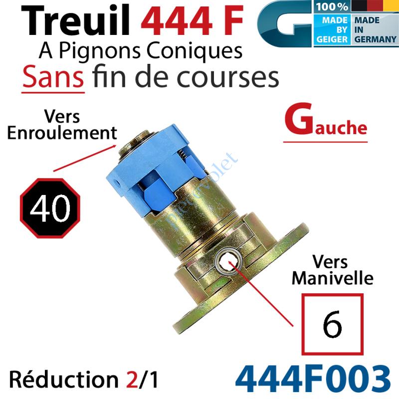 444F003 Treuil Débrayable Gauche à Pignons Côniques 444F Entrée Carré 6 Femelle Sortie Octo 40 Mâle Sans FdC
