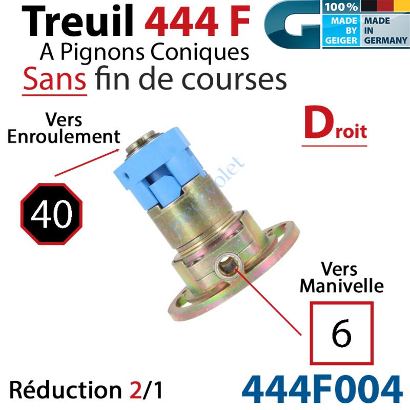 444F004 Treuil Débrayable Droit à Pignons Côniques 444F Entrée Carré 6 Femelle Sortie Octo 40 Mâle Sans FdC