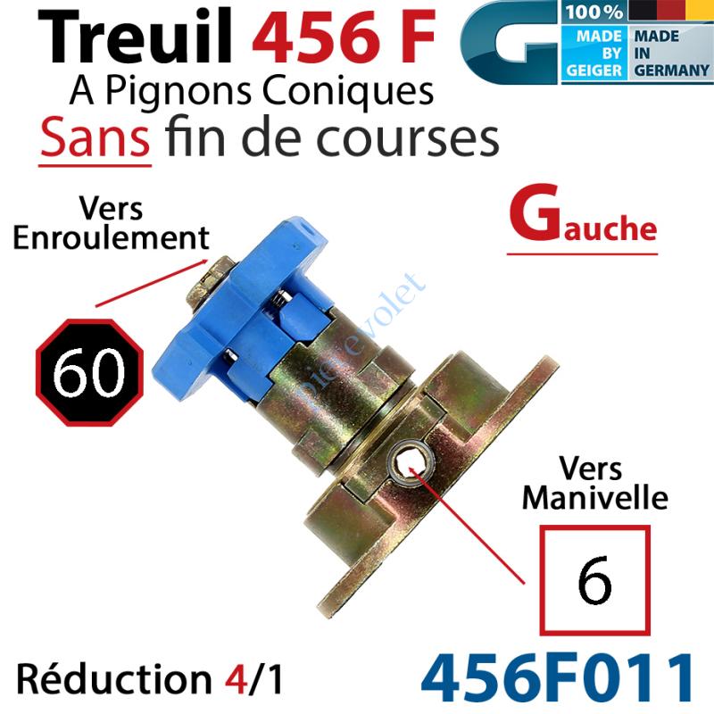 456F011 Treuil Débrayable Gauche à Pignons Côniques 456F Entrée Carré 6 Femelle Sortie Octo 60 Mâle Sans FdC