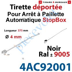 4AC92001 Tirette en inox Longueur 375mm Noir ± Ral 9005 pour Rallonger l'Arrêt à Paillette Automatique StopBox Livré Avec 1 Supp
