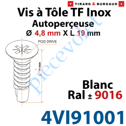 4VI91001 Vis à Tôle Auto Perceuse Tête Fraisée Pozidriv n°2 Inox A2 4,8 x 19 Tête Laquée Blanc ± Ral 9016