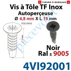 4VI92001 Vis à Tôle Auto Perceuse Tête Fraisée Pozidriv n°2 Inox A2 4,8 x 19 Tête Laquée Noir ± Ral 9005