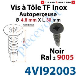 4VI92003 Vis à Tôle Auto Perceuse Tête Fraisée Pozidriv n°2 Inox A2 4,8 x 30 Tête Laquée Noir ± Ral 9005