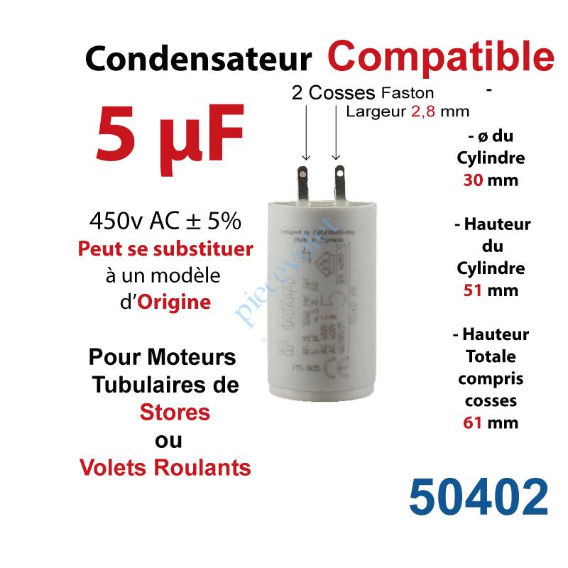 Condensateur permanent moteur /à fils 5 /µF