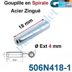 506N418-1 Goupille en Spirale ø 4 Lg 18 mm en Acier Zingué
