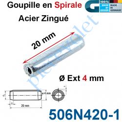 506N420-1 Goupille en Spirale ø 4 Lg 20 mm en Acier Zingué