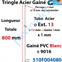 510F004080 Tringle Acier Gainé Plastique Blanc ø 12+1mm x1 mm Percé pr Goup Geig Lg 800 mm