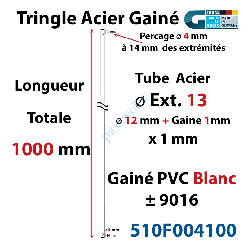 510F004100 Tringle Acier Gainé Plastique Blanc ø 13 mm Lg 1000 mm