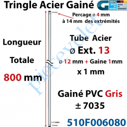 510F006080 Tringle Acier Gainé Plastique Gris ø 12+1mm x1 mm Percé pr Goup Geig Lg 800 mm