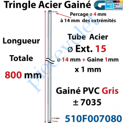 510F007080 Tringle Acier Gainé Plastique Gris ø 14+1mm x1 mm Percé pr Goup Geig Lg 800 mm