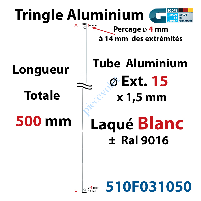 510F031050 Tringle Alu Laqué Blanc ø 15 mm Lg 500 mm