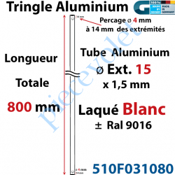 510F031080 Tringle Alu Laqué Blanc ± Ral 9016 ø15 mm x 1,5 mm Percé pr Goup Geig Lg 800 mm