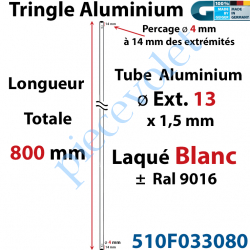 510F033080 Tringle Alu Laqué Blanc ± Ral 9016 ø13 mm x 1,5 mm Percé pr Goup Geig Lg 800 mm