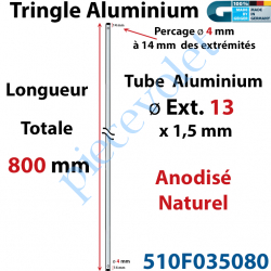 510F035080 Tringle Alu Anodisé Naturel ø13 mm  x 1,5 mm Percé pr Goupille Geiger Lg 800 mm