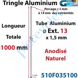 510F035100 Tringle Alu Anodisé Naturel ø13 mm  x 1,5 mm Percé pr Goupille Geiger Lg 1000 mm