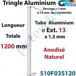 510F035120 Tringle Alu Anodisé Naturel ø13 mm  x 1,5 mm Percé pr Goupille Geiger Lg 1200 mm