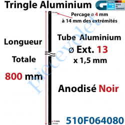 510F064080 Tringle Alu Anodisé Noir ø13 mm  x 1,5 mm Percé pr Goupille Geiger Lg 800 mm