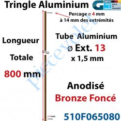 510F065080 Tringle Alu Anodisé Bronze Foncé ø13 mm  x 1,5 mm Percé pr Goupille Geiger Lg 800 mm