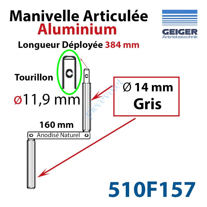 510F157 Manivelle Aluminium Bras ø14 mm Lg 160mm Anodisé Naturel Poignées Grises Tourillon ø11,9 Lg Utile 384mm
