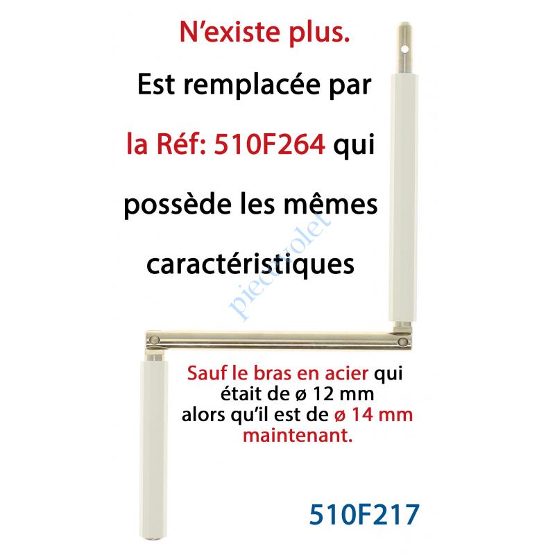 510F217 Manivelle Acier Bras ø12 mm Lg 140mm Chromé Poignées Blanches Tourillon ø 9,9 Lg Utile 404mm