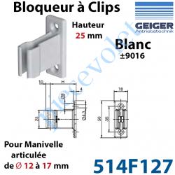 514F127 Bloqueur à Clips Prof Fixe de 25 mm pr Tringle Oscillante ø 12 à 17 mm Col Blanc