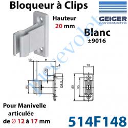 514F148 Bloqueur à Clips Prof Fixe de 20 mm pr Tringle Oscillante ø 12 à 17 mm Col Blanc