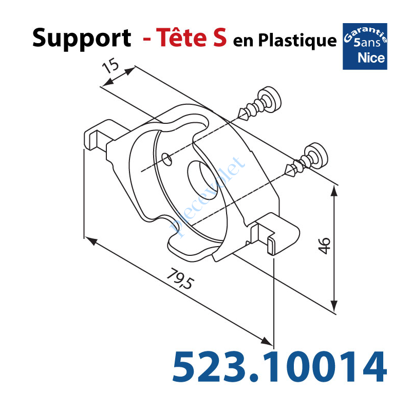 523.10014 Support Nice Tête S Plastiq Av 2 Vis à Cliper sur Support 525.10052 ou 525.10088