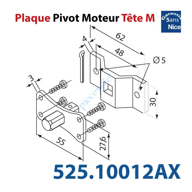 525.10012/AX Pivot Carré 10 à Fix Mot Nice Tête M Av Etrier 2 Trø5 entr'axes 48 Cpl Max 30 Nm