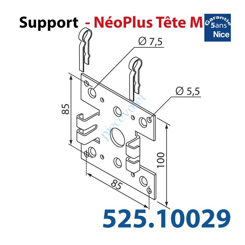 525.10029 Support Nice Néoplus Tête M Métallique 100 x 100 multi entr'axes