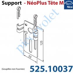 525.10037 Support Nice Néoplus Tête M Métallique 55 x 125 mm Réglable en Hauteur