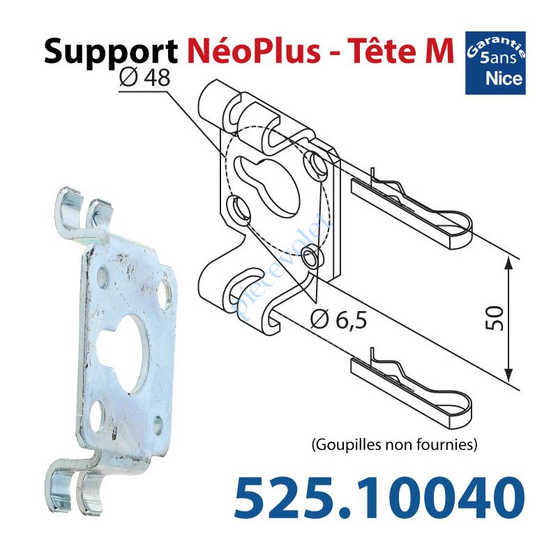 525.10040 Support Nice Néoplus Tête M Métallique 2 Trous Fraisés ø 6,5 entr'axes 48 mm