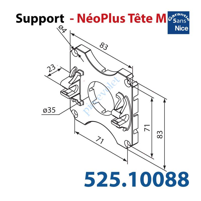 525.10088 Support Nice Néoplus Tête M Clipée Plast entr'axes Têtes Hexa 44 & 48mm Couple Maxi 30Nm