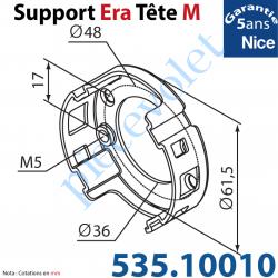 535.10010 Support Nice Era Tête M Métallique 2 Trous M5 entr'axes 48 mm